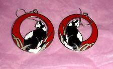 Red/Black REO Enamel BLACK WHITE CAT Hoop Earrings VINTAGE