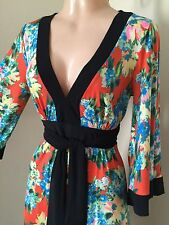 S * Orange Floral Kimono Bell Sleeve Tunic Mini Dress Black Vtg Mod 70's Party