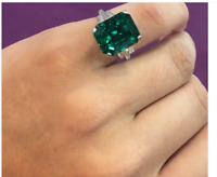Art Deco 3.45 Ct Emerald Sapphire Green Antique Vintage 925 Sterling Silver Ring