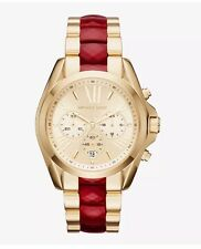 MICHAEL KORS Bradshaw Ruby Red & Gold 43mm Watch MK6443 Brand New With Tags