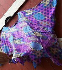 Graffiti artful wild fuschia amazing silk 80s blouse COUTURE TREASURE tribal nwt