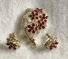 Lovely Vintage Lisner Demi Parure Pin & Earrings, Ruby Red/Clear Rhinestone, EVC