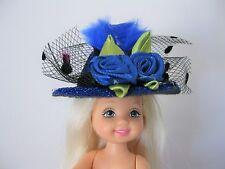 "Doll Hat 2"" Barbie Kelly, Skipper, Amelia Thimble, Royal Blue Felt Rose Glitter"
