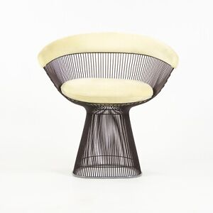 2019 Warren Platner for Knoll Arm Chair Metallic Bronze Frame Off-White Fabric