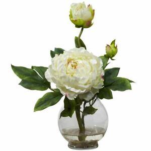 "Luxury White Peony w/Fluted Vase Faux Silk Flower Arrangement - 13.5"""