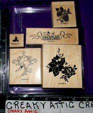 STAMPIN UP PINES AND POINSETTIAS RUBBER STAMPS PINECONES