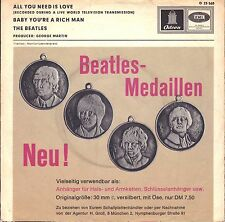 """7"""" Beatles – All You Need Is Love / Rare Medaillen Cover // Germany 1967"""
