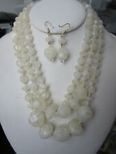 Three Layers Faceted Cream Lucite Acrylic Bead Necklace Earring Set