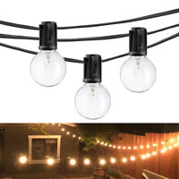 25FT G40 25 Bulbs String Lights Globe Bulb Outdoor Patio Incandescant Night Lamp
