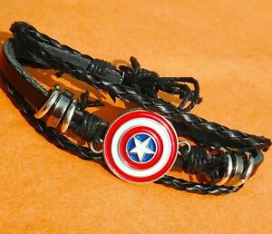 Unisex Metal Captain America  Leather Bracelet Jewelry For Man Woman Adjustable