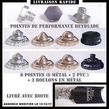 8 pointes de performance pour toupie beyblade, 6 métal, 2 PVC+ 3 boulons métal