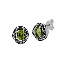 Gemondo Sterling Silver Oval Peridot and Marcasite Cluster Stud Earrings