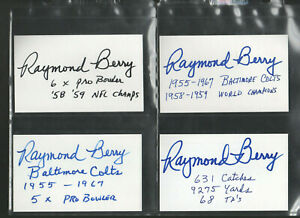 RAYMOND BERRY BALTIMORE COLTS HOF SIGNED AUTOGRAPHED INDEX CARD 3X5 ADDED STATS