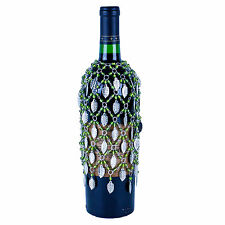 GREEN BEADED WINE BOTTLE COVER SKIRT SILVER VINE LEAVES