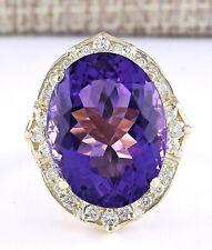 19.10 Carat Natural Amethyst 18K Solid Yellow Gold Luxury Diamond Ring