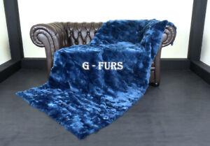 Luxury Green - Blue Rex Rabbit Fur Throw Blanket