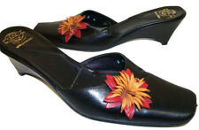Espace Black w/ Flower Size 6 1/2 Mules or Shoes Portugal 6.5