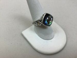 Angela by John Hardy (A by JH) Sterling/ 14K Ring w/ Abalone Doublet Size 8