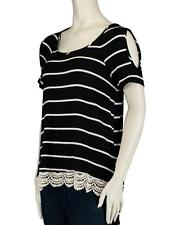 NWT COMO VINTAGE Black Striped Cold Shoulder Cutout HiLo Knit Top -Crochet Hem M