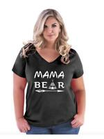 Mother's Day Gift Mama Bear Arrow Matching   Women Curvy Plus Size V-Neck Tee