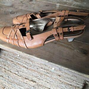Hogl Softline Slingback Sandal/shoe Size 6 UK Tan Leather Uppers