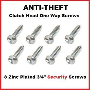 "8x Anti-Theft Number Plate Tamper Proof Clutch Head Security Screws 3/4"" 8 Gauge"