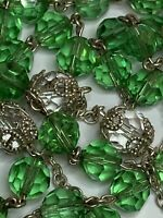"""† SPARKLY VINTAGE STERLING CAPPED CRYSTAL PATER GREEN ROSARY NECKLACE 33 1/2"""" †"""