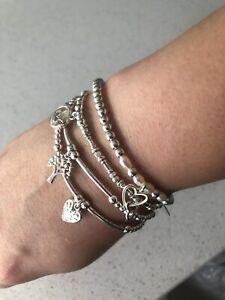Chlobo 4 Stretch Silver + Gold Bracelet. Disc Earth, Tree, Heart X2