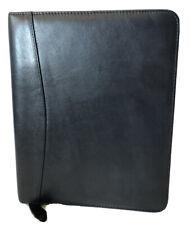 FRANKLIN QUEST USA Black Genuine Leather Planner Organizer 7-Ring Binder EUC