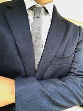 USED Suitsupply HAVANA Blue Herringbone Wool and Cashmere Blazer - Size 42R