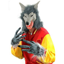 WOLF MASK AND HANDS COSTUME SET HALLOWEEN WEREWOLF ADULTS ANIMAL FANCY DRESS