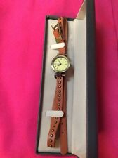 BRAND NEW Ladies Brown Leather Studded Wrap Wrist Watch~Antique Brass Face