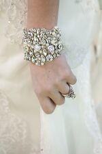 VINTAGE SWAROVSKI CRYSTAL RHINESTONE SILVER BRIDAL WEDDING BRACELET cuff