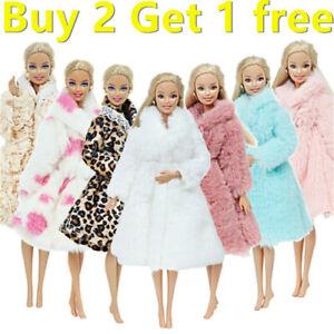 New Barbie Princess Fur Coat Dress Accessories Clothes for Barbie Dolls Toys