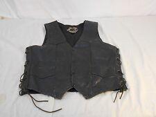 Silver Hawk Biker Gear Black Leather Vest 6341