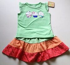 Girls CRAZY 8 outfit 6-12 NWT cupcake t shirt tiered cotton skirt birthday dot