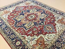 """Persian Oriental Area Rug Serapi Hand Knotted Wool Red Navy Blue 8'.0"""" X 10'.0"""""""
