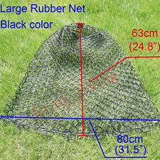 "Large Clear Rubber Fishing Mesh Replacement Landing Net Circumference 63"" Black"