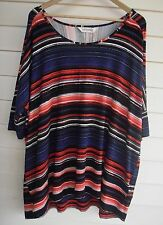 BNWT Virtuelle by TS Taking Shape Women's Blue Red & Black Stripe Top - Size S