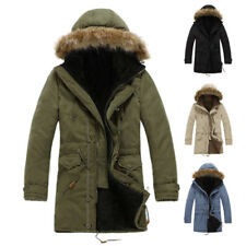 Mens Warm Quilted Coat Fur Hooded Jacket Long Trench Parka Fleece Lined Outwear