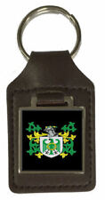 Bullock Family Crest Surname Coat Of Arms Brown Leather Keyring Engraved