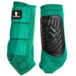 Medium Classic Equine Horse Front Sports Boots Classic Fit Emerald Green U-0EMM