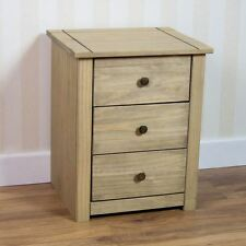 Panama 3 Drawer Bedside Chest Mexican Solid Pine Wood Waxed Rustic Oak Finish
