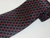 New Jos A Bank Tie Black Red White Floral Link Satin Silk Luxury Necktie Mens
