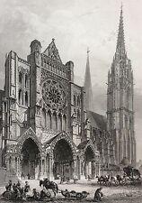 Cathédrale Notre Dame de Chartres estampe XIXe France par Rouargue 1853