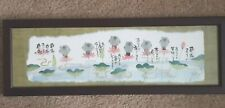 Space Gallery LTD Japanese Lily Pad Pond Creatures Calligraphy Signed Framed