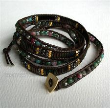 Nakamol 5 Wrap up Mixed Crystal, Agate, Metal Beads Inset Leather BOHO Bracelet