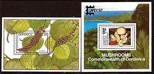 DOMINICA 1987  2 blocs n°1028 et 1110 :fruits et champignons  52m172b