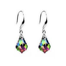 popular Silver Mystic Rainbow Topaz Long Drop/Dangle Hook Earrings Marriage gift