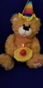 Singing Plush Birthday Bear with Light up Happy Birthday LED Cup Cake